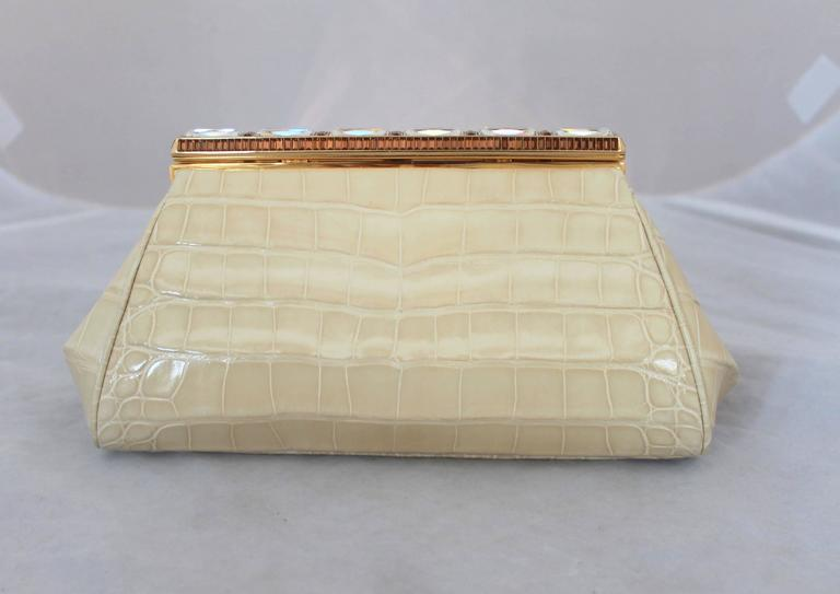 Judith Leiber Ivory Crocodile Clutch with Rhinestone and Gold Clasp For Sale 1