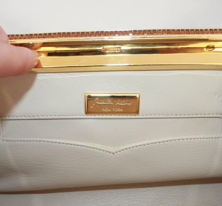 Judith Leiber Ivory Crocodile Clutch with Rhinestone and Gold Clasp For Sale 3