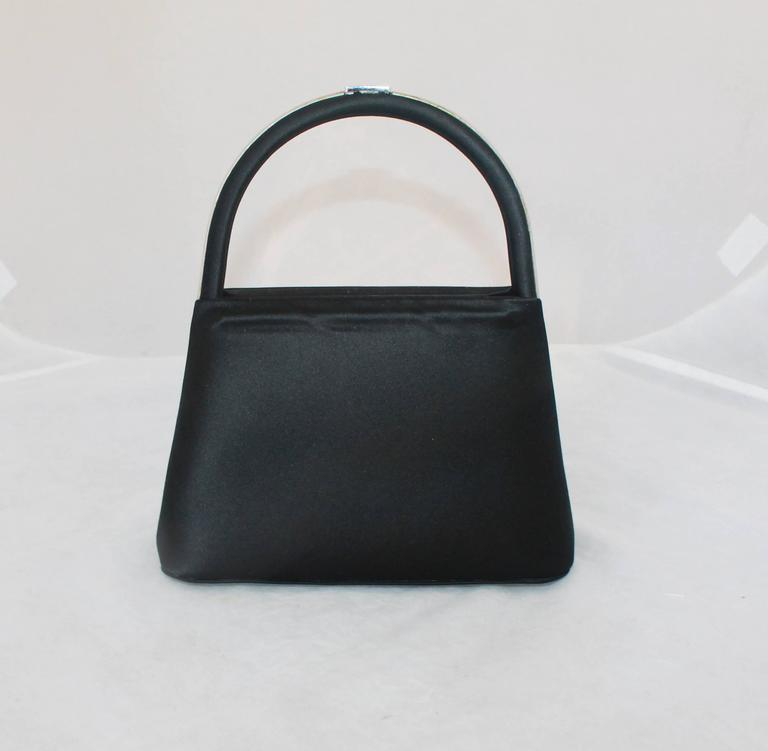 Judith Leiber Black Satin Top Handle Evening Bag 3