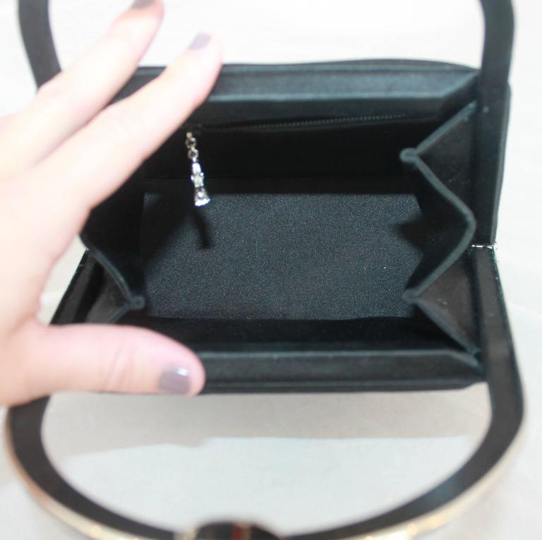 Judith Leiber Black Satin Top Handle Evening Bag 6