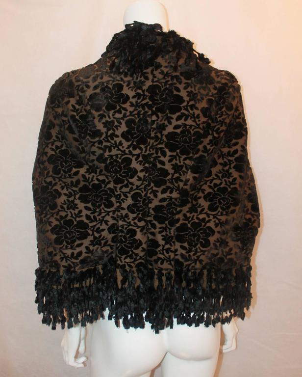 Women's 1890's Victorian Black & Brown Floral Cut Velvet with Fringe Jacket - S/M For Sale
