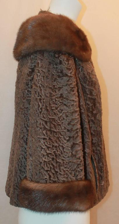 Vintage Brown Persian Lamb Jacket with Mink Collar & Cuffs - M In Fair Condition For Sale In Palm Beach, FL