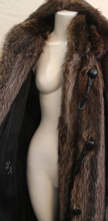 Custom Montgomery Style Hooded Brown Raccoon Full Coat - M For Sale 1