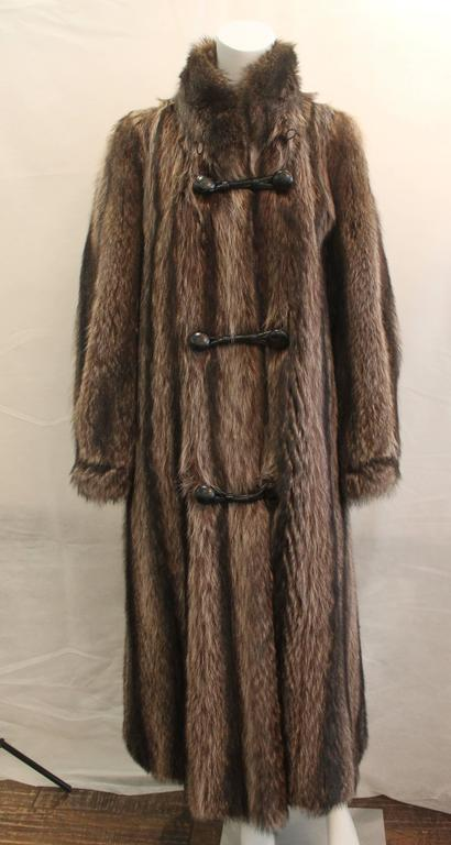 Black Custom Montgomery Style Hooded Brown Raccoon Full Coat - M For Sale