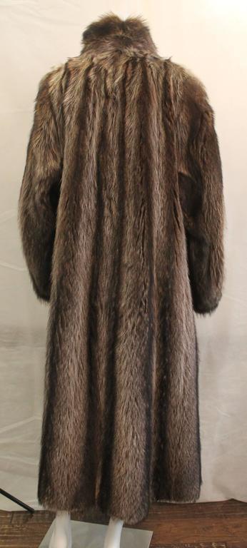 Women's Custom Montgomery Style Hooded Brown Raccoon Full Coat - M For Sale