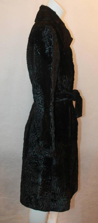 Marengo Black Broadtail Collared Full Coat with Belt - L In Excellent Condition For Sale In Palm Beach, FL