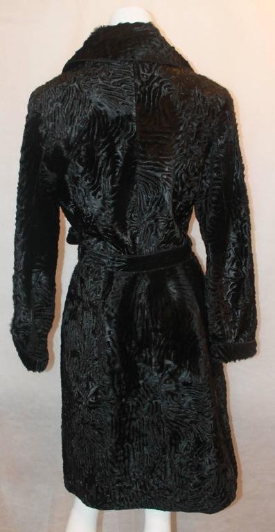 Women's Marengo Black Broadtail Collared Full Coat with Belt - L For Sale