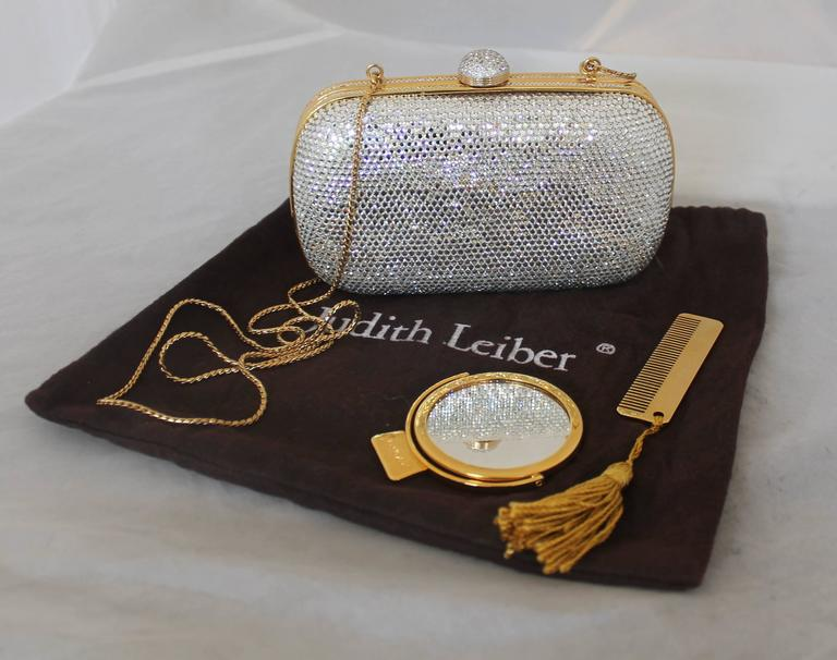 Leiber vintage mini gold metal minaudiere clutch