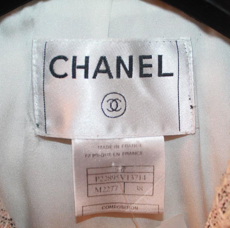 Chanel Blush, Cream, and Black Tweed Jacket w/ Fringe - 38 For Sale 2