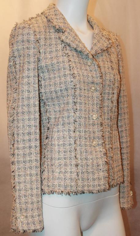 Chanel Blush, Cream, and Black Tweed Jacket w/ Fringe - 38 2