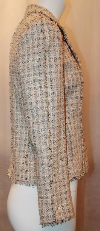 Chanel Blush, Cream, and Black Tweed Jacket w/ Fringe - 38 3