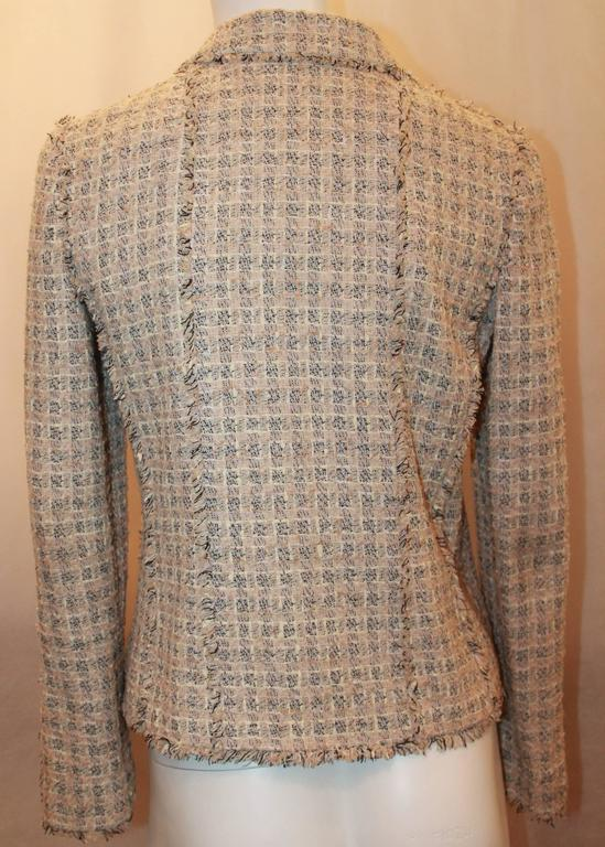 Chanel Blush, Cream, and Black Tweed Jacket w/ Fringe - 38 In Excellent Condition For Sale In Palm Beach, FL