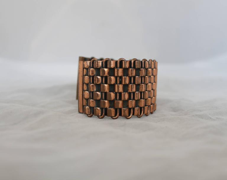 """Renoir Vintage Copper Basket Weave Cuff Bracelet - 1950's.  This bracelet is in very good vintage condition with only some minor wear consistent with age.  It features an intricate basket weave look, the """"Renoir"""" signature, and it is composed of"""