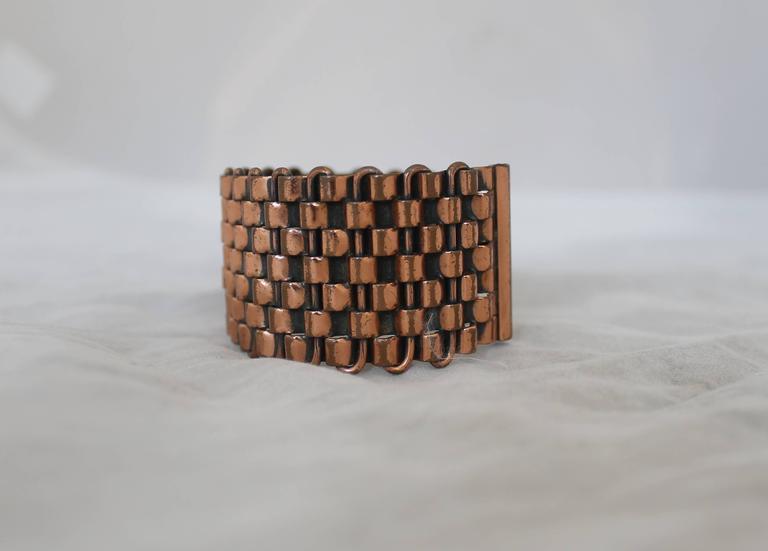 Renoir Vintage Copper Basket Weave Cuff Bracelet - 1950's 3