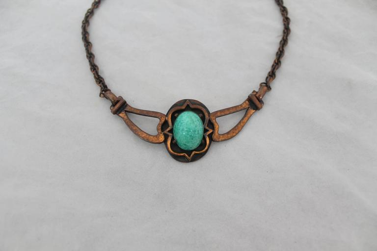 Rebajes Vintage Copper Necklace w/ Blue Stone - circa 1960's.  This necklace is in excellent vintage condition.  It features a hammered copper and a striking blue stone.  It is signed