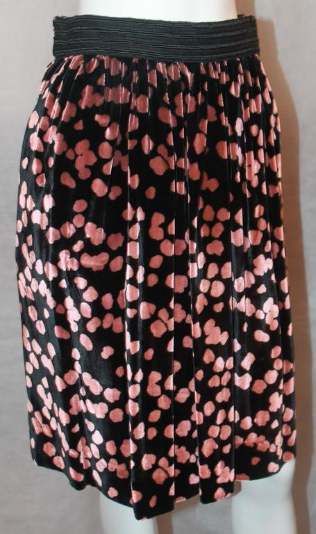 Galliano Vintage Black Velvet Skirt w/ Pink Spots - S - 1990's.  This adorable skirt is in excellent condition.  It features a lovely black velvet material with pink spots, silk lining, a black ribbon waistband in the front, a side pocket on the
