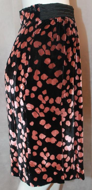 Women's Galliano Vintage Black Velvet Skirt w/ Pink Spots - S - 1990's For Sale