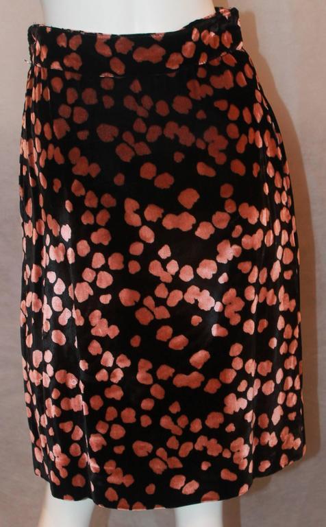 Galliano Vintage Black Velvet Skirt w/ Pink Spots - S - 1990's For Sale 1