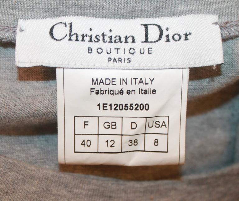 Christian Dior Grey Cotton Sleeveless Top w/ Leather Side Zip & Bow- US: 8 FR:40 5
