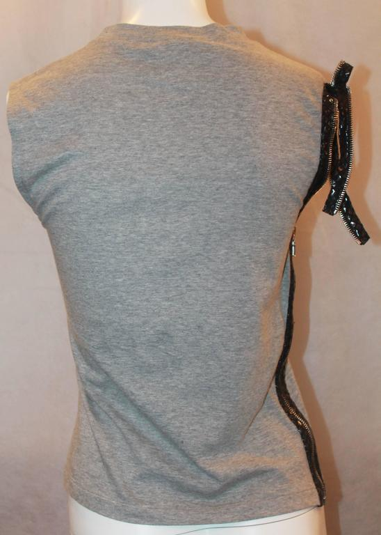 Christian Dior Grey Cotton Sleeveless Top w/ Leather Side Zip & Bow- US: 8 FR:40 4