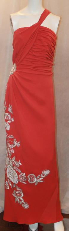 Naeem Khan Coral Silk One Shoulder Gown w/ White Floral Beading & Shawl - 12 2