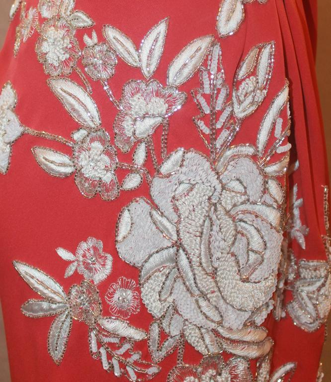 Naeem Khan Coral Silk One Shoulder Gown w/ White Floral Beading & Shawl - 12 5