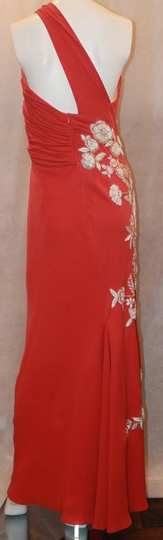 Naeem Khan Coral Silk One Shoulder Gown w/ White Floral Beading & Shawl - 12 4