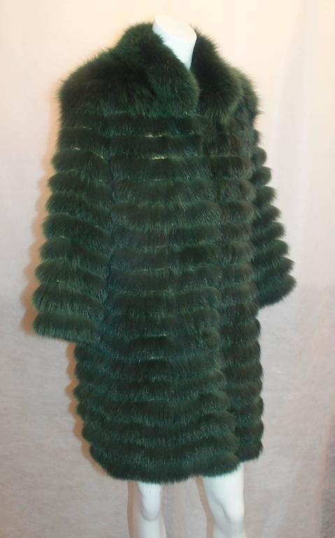 "Olivia Preckel Green ""Carolina"" Long Fox Coat - NWT - M 2"