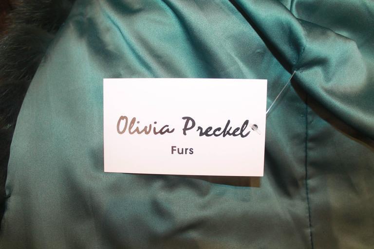 "Olivia Preckel Green ""Carolina"" Long Fox Coat - NWT - M 6"