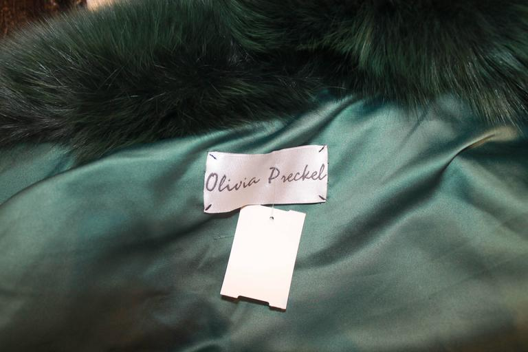 "Olivia Preckel Green ""Carolina"" Long Fox Coat - NWT - M For Sale 3"