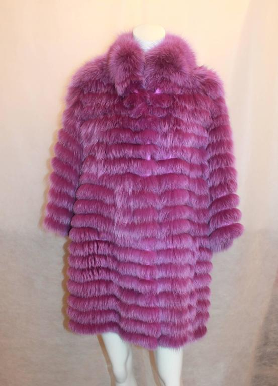 "Olivia Preckel Purple ""Carolina"" Long Fox Coat - NWT - M 2"
