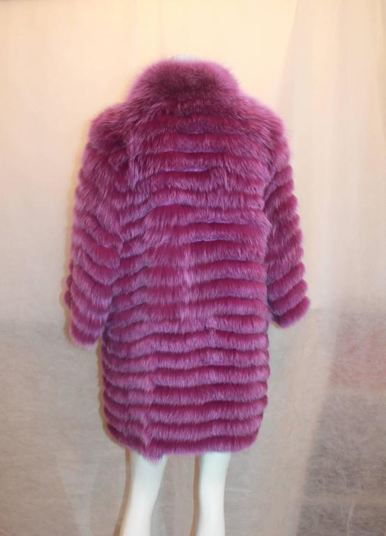 "Olivia Preckel Purple ""Carolina"" Long Fox Coat - NWT - M 4"