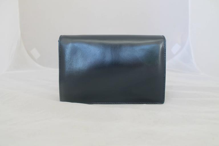 Gray Gucci Vintage Navy Leather Clutch - GHW - Circa 1950's For Sale