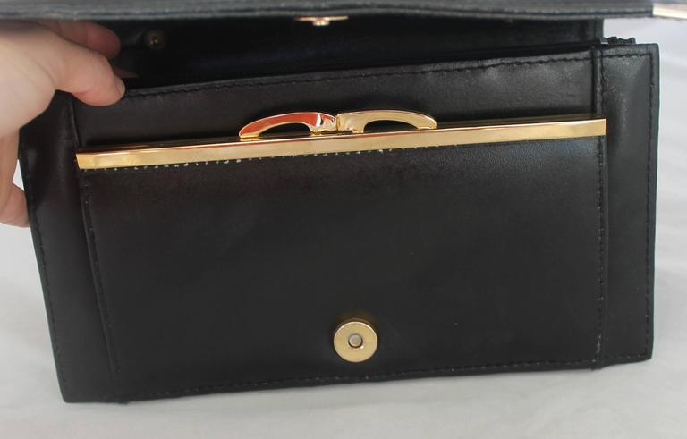 Christian Dior Vintage Black Leather with Gold Hardware Clutch, Circa 1980s For Sale 1