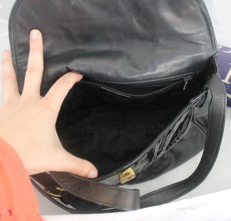 Palm Beach Chic Circa 1990s: Fendi Vintage Black Leather And Patent Crossbody