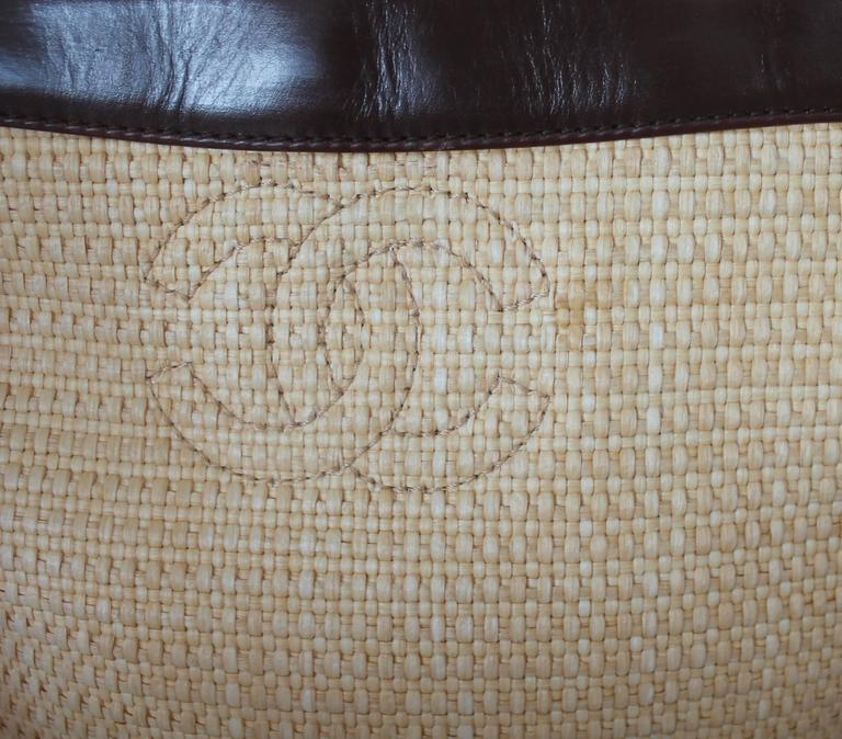 "Chanel Raffia Small Tote w/ Brown Leather Trim w/ ""CC"" Logo - Circa 2000-2002 In Good Condition For Sale In Palm Beach, FL"