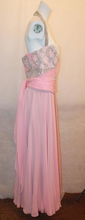 Bill Blass Pink Silk Chiffon & Mesh Gown with Beading - 10 3