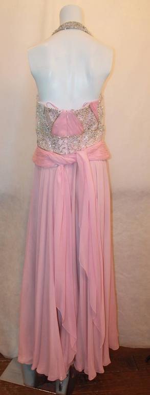 Bill Blass Pink Silk Chiffon & Mesh Gown with Beading - 10 4