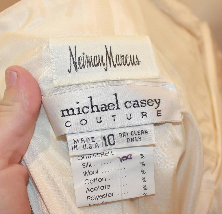 Michael Casey Silk Chiffon & Ivory Cut Velvet Strapless Gown - 10 For Sale 1