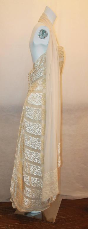 Brown Michael Casey Silk Chiffon & Ivory Cut Velvet Strapless Gown - 10 For Sale