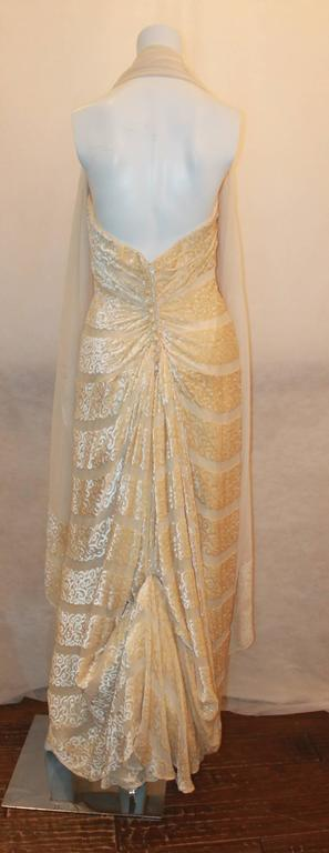 Michael Casey Silk Chiffon & Ivory Cut Velvet Strapless Gown - 10 In Excellent Condition For Sale In Palm Beach, FL