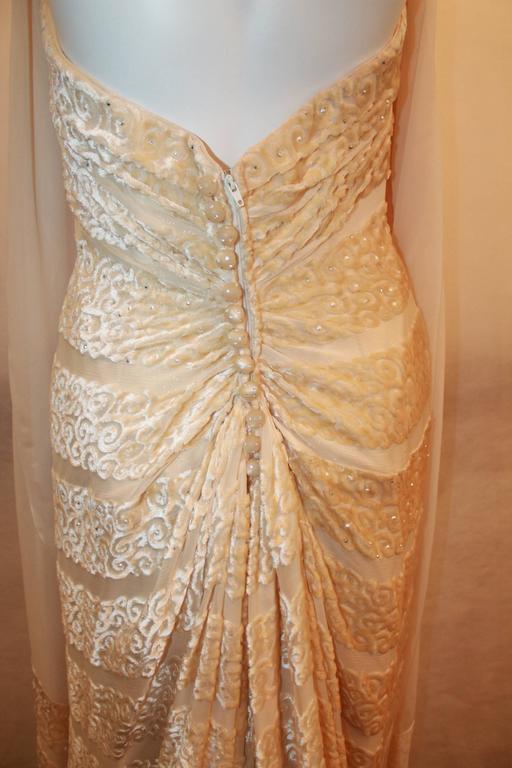 Women's Michael Casey Silk Chiffon & Ivory Cut Velvet Strapless Gown - 10 For Sale