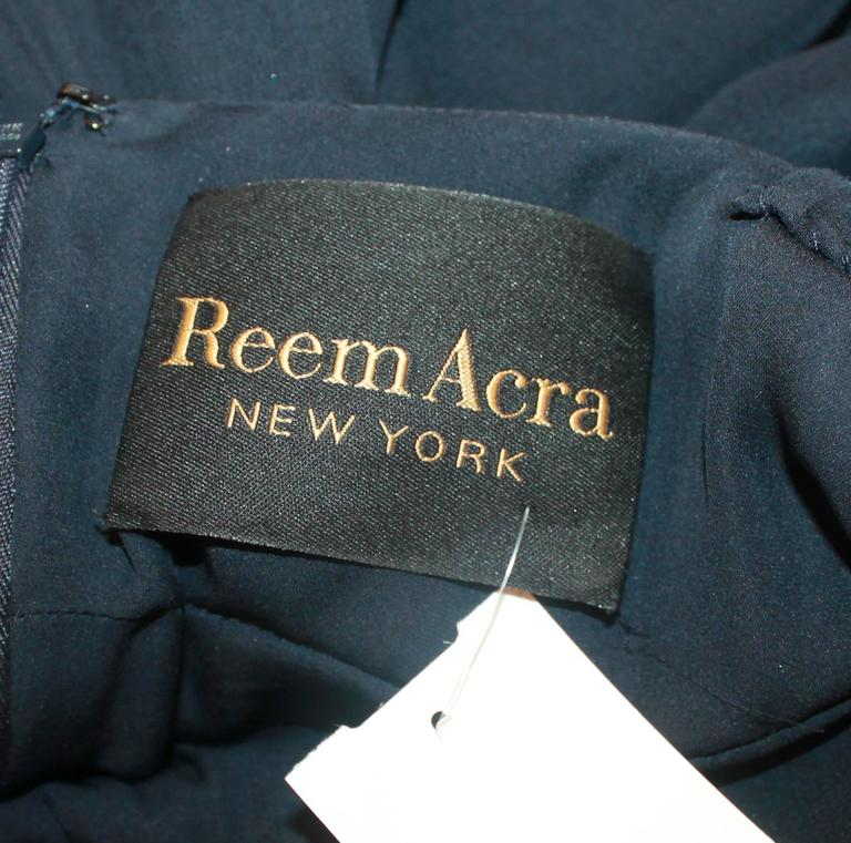 Reem Acra Navy Silk Chiffon Gown w/ Rhinestones, Ruched Bust, & Keyhole Slit -10 In Good Condition For Sale In Palm Beach, FL