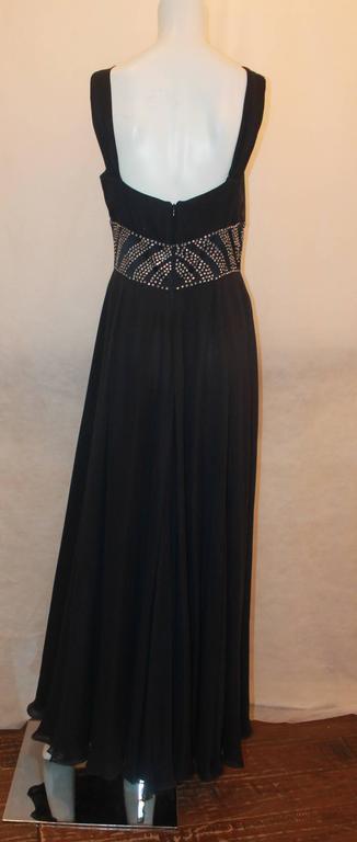 Reem Acra Navy Silk Chiffon Gown w/ Rhinestones, Ruched Bust, & Keyhole Slit -10 3