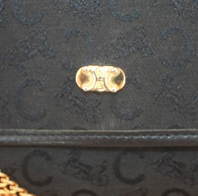 Celine Vintage Black Fabric Monogram Printed Bag w/ GHW - circa 1990's  In Good Condition For Sale In Palm Beach, FL