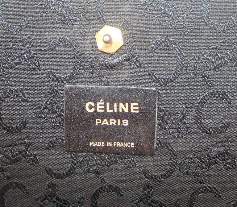 Celine Vintage Black Fabric Monogram Printed Bag w/ GHW - circa 1990's  4