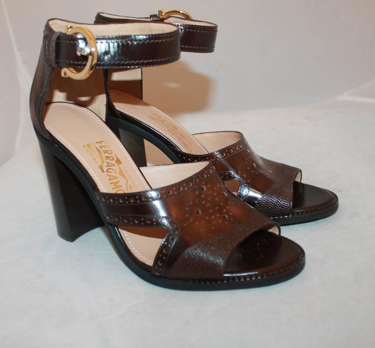 Salvatore Ferragamo Brown Leather Strappy Sandals w/ Woodstack Heel - 8 - New.  These fun heels are new and never worn.  They feature a lovely brown leather with design, a thick woodstack heel, and an ankle strap with a