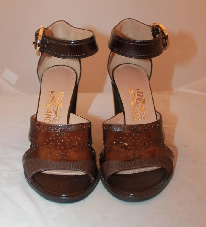 Black Salvatore Ferragamo Brown Leather Strappy Sandals w/ Woodstack Heel - 8 - New For Sale