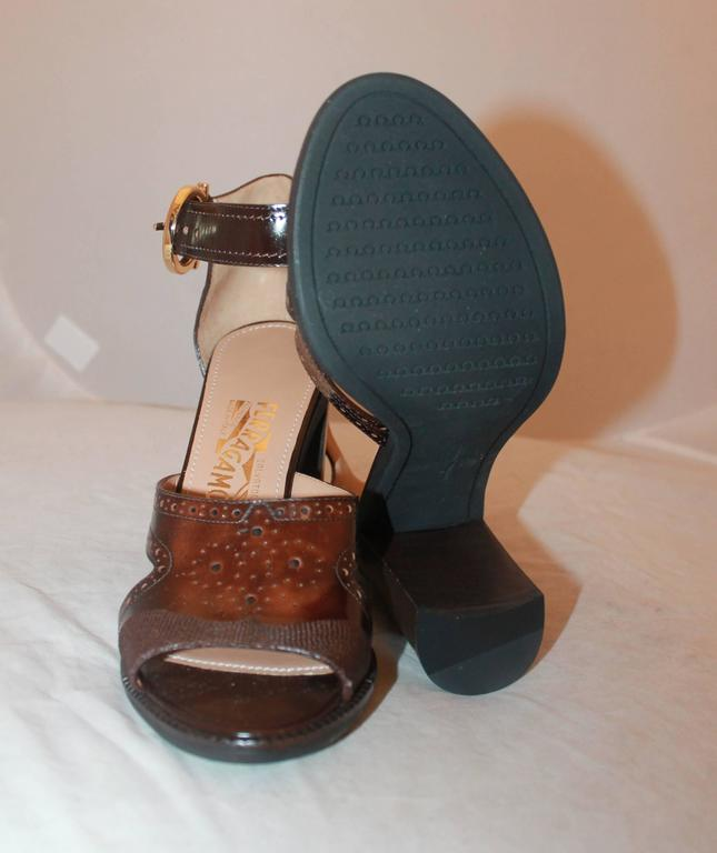 Women's Salvatore Ferragamo Brown Leather Strappy Sandals w/ Woodstack Heel - 8 - New For Sale