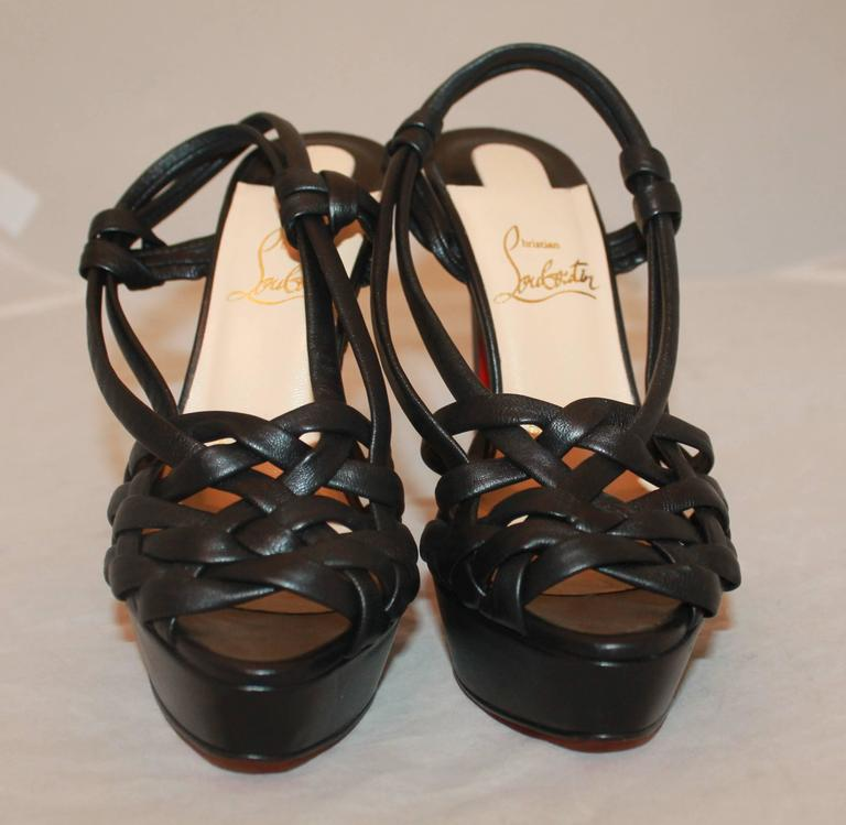 Christian Louboutin Black Strappy Leather Platform Heels - 36 In New Condition For Sale In Palm Beach, FL